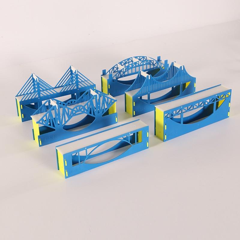 6 pcs set modelo de construcao de pontes ponte truss arch ponte cabo ponte estaiada estrutura