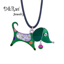 Cute Boys Girls Cartoon Dog Pendant Green Enamel Animal Rope Chain for Children Jewelry Alloy Metal Necklaces Necklace