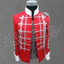 men's costumes coat blazer jacket male red outerwear bar DJ singer dancer star nightclub party performance show fashion slim DS