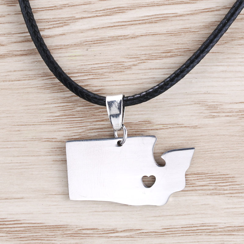 United States Washington State charm stainless steel map pendant leather necklace jewelr ...