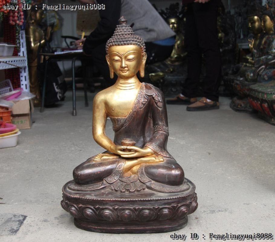 Chinese Buddhism Copper Bronze Sakyamuni Tathagata Hold alms bowl Buddha StatueChinese Buddhism Copper Bronze Sakyamuni Tathagata Hold alms bowl Buddha Statue