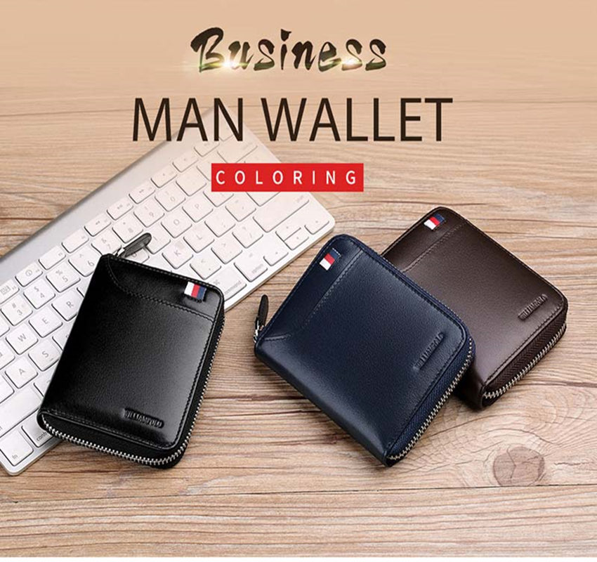 WILLIAMPOLO Fashion Genuine Leather Men Wallet Zipper Hasp Design Small Coin Purse Card Holder Wallet Minimalist Polo283