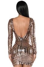 Adogirl Sexy Women Backless Vintage Nude Open Back Long Sleeve Sequin Dress Fashion Nightclub vestidos Bodycon Clubwear Dresses