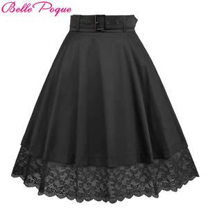b2b0db79df6 Belle Poque Lace High Waist Pleated Midi Skirt Womens