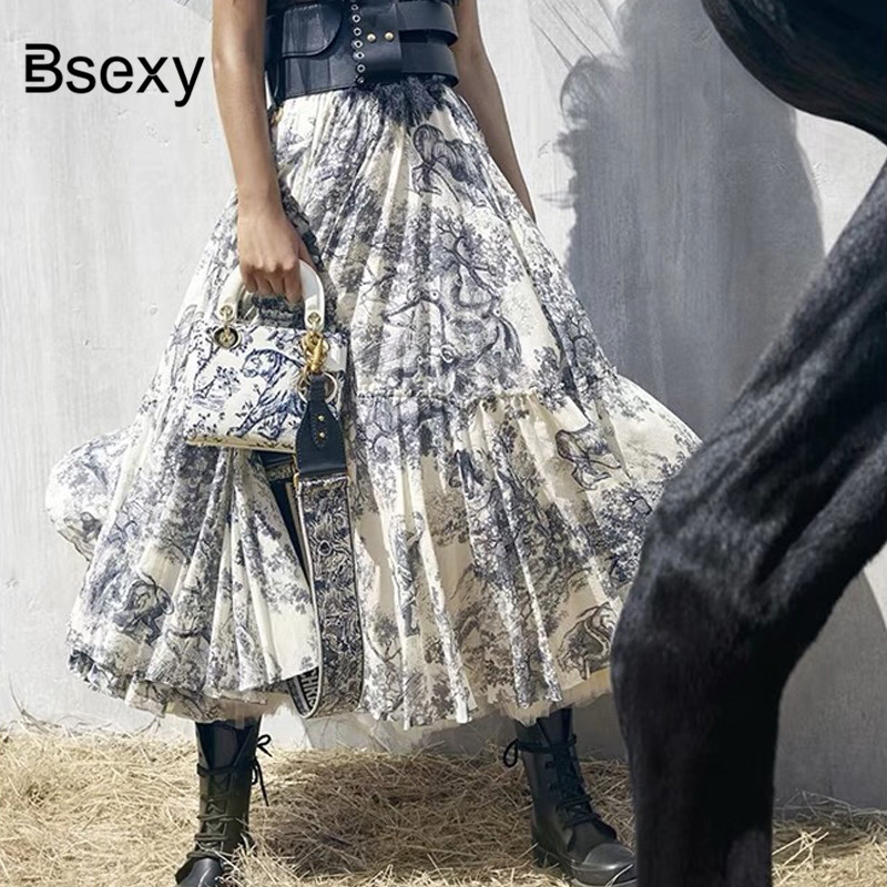 2019 Runway Women Long Skirt Luxury Animal Printing High Waist Pleated Large pendant Skirt European Designer