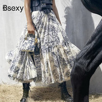 2019 Runway Women Long Skirt Luxury Animal Printing High Waist Pleated Large pendant Skirt European Designer Party Maxi Skirt