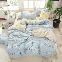 KELUO Home Textile 3/4pcs King Size Bedding Sets Duvet Cover Sets Pillowcases Flat sheet Simple Design Cat star