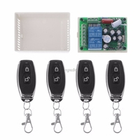 AC 220V 2CH RF Relay Wireless Remote Control Switch System Receiver Module 4 Remote Control Transmitters