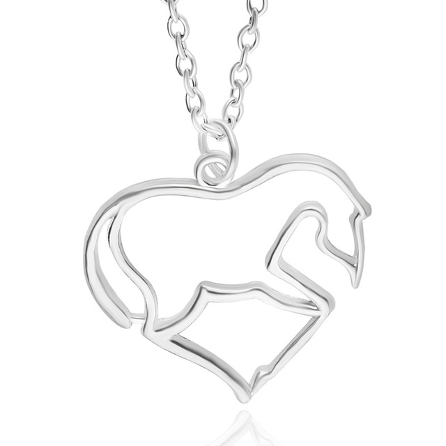 Heart Horse Pendant Necklace My Little Gift for Girls Pony Teens and Women