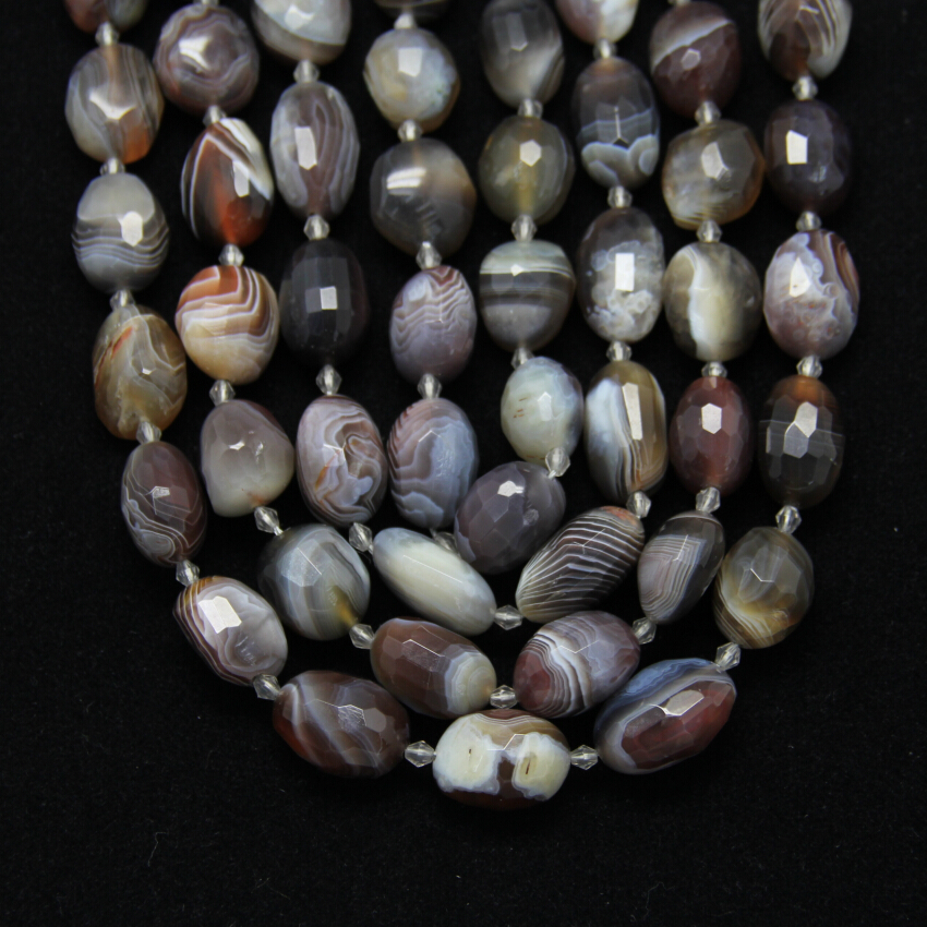 Natural Botswana Achate Faceted Oval Loose Beads DIY Bracelet,Center Drilled Striped Agates Stones Cut Nugget Beads Pendants faceted nugget loose beads sakura agates loose beads full strands cherry agates stone petite nuggets beads in 12 30 mm be7578