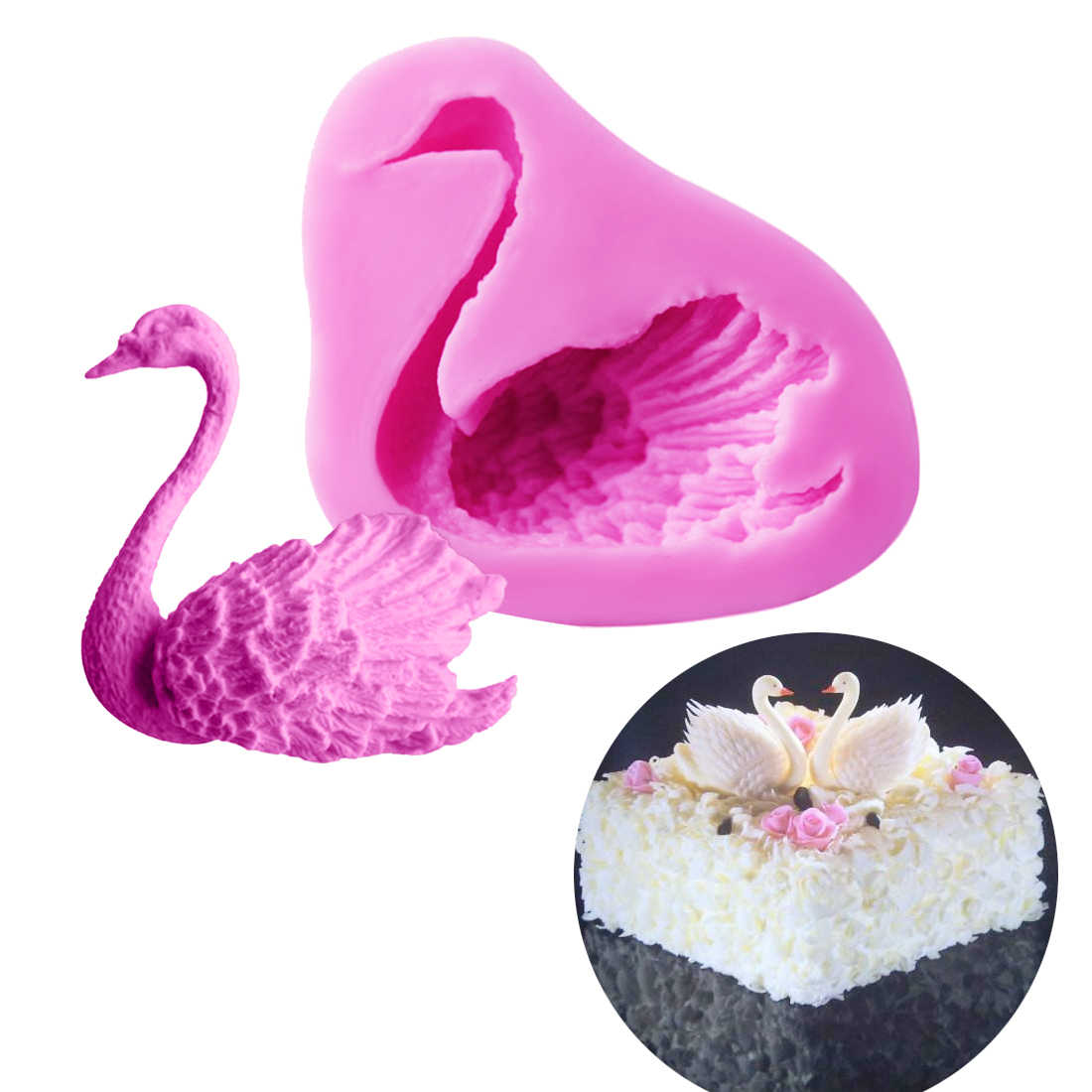 Pastry Tools 1PC Silicone Mold Swan Shape Fondant Chocolate Soap Mold Cake Stencils Bread Moulds Kitchen Accessories Baking Pan