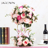 JAROWN Artificial Flower Ball Flower Stand Set Silk Fake Flower Wedding Stage Decoration Flores Home Party Table Decorations