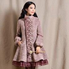 Original New Fashion Women's Long Winter Coat Stand Collar Single Breasted Overcoat Lantern Sleeve Female Woolen Jacket Coat