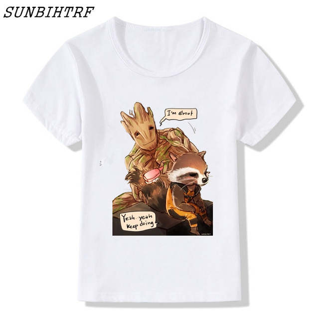 BABY GROOT PLANT KIDS CHILDRENS T SHIRT GUARDIANS ROCKET