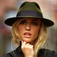 Шерсть с широкими полями флоппи фетровая шляпа с бантом Fedora для элегантных женщин женские зимние осенние кашемировые Гангстерские церковные шляпы 5