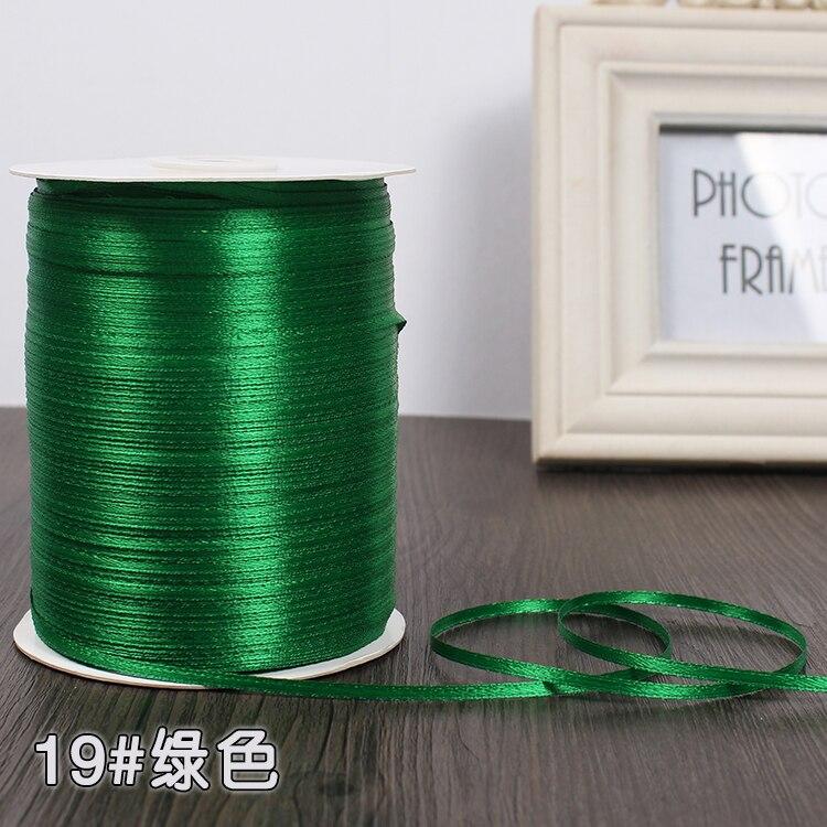 3 мм шелковые атласные ленты Рождество Хэллоуин Детский душ день рождения упаковка для свадебного подарка белый синий розовый зеленый фиолетовый ленты - Цвет: Green