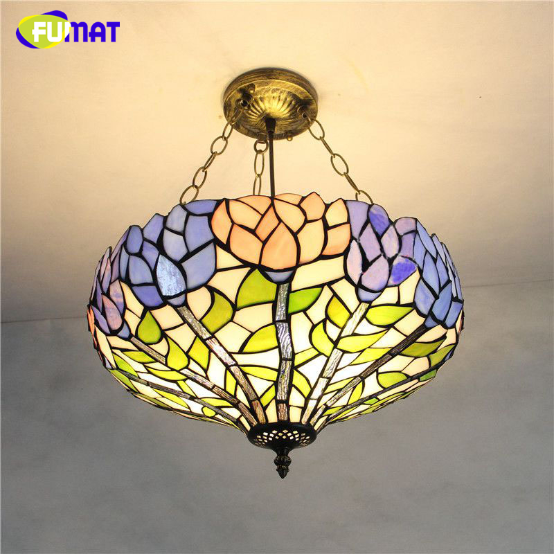 FUMAT Stained Glass Pendant Lights European-style Lotus Glass Art Shade living room bedroom lamp Restaurant light Fixtures fumat stained glass pendant lights garden art lamp dinner room restaurant suspension lamp orchids rose grape glass lamp lighting