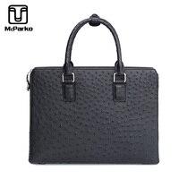 McParko натуральная страусиная кожа портфель деловая сумка для мужчин Роскошная кожа страуса кожаный портфель для мужчин Драгоценная сумочка