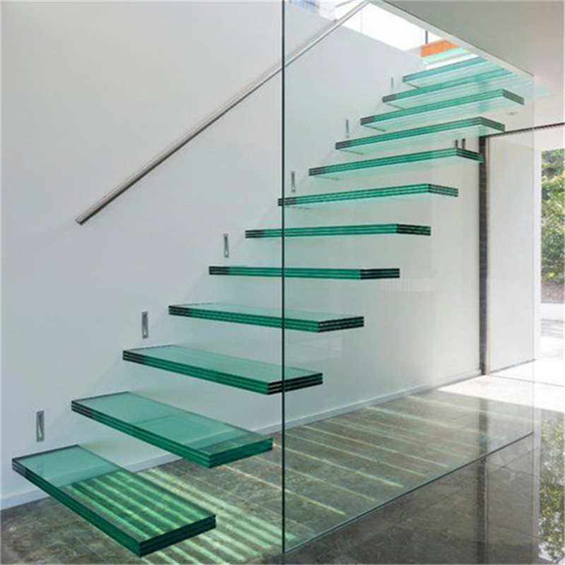 High Quality Low Cost Floating Tempered Glass Staircase For Home   Glass Stair Railing Cost   Living Room   Glass Balustrade   Simple   Grill   Glass Wood Combined