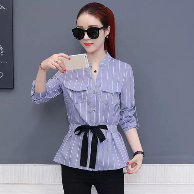 Office Work Wear Women Spring Summer Style Chiffon Blouses Shirts Lady Casual Bow Tie Sashes Long Sleeve Blusas Tops DD1763