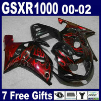 OEM Injection made Fairings sets for GSXR 1000 K2 SUZUKI 01 00 02 GSXR1000 2002 2001 2000 red flame in black fairing k