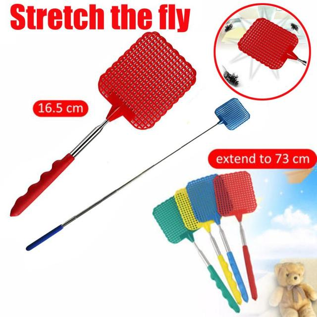 73cm Portable Telescopic Stainless steel Anti Mosquito Pest Swatters Fly Killer Fly Swatter Pest Reject Wholesale Insect Killer