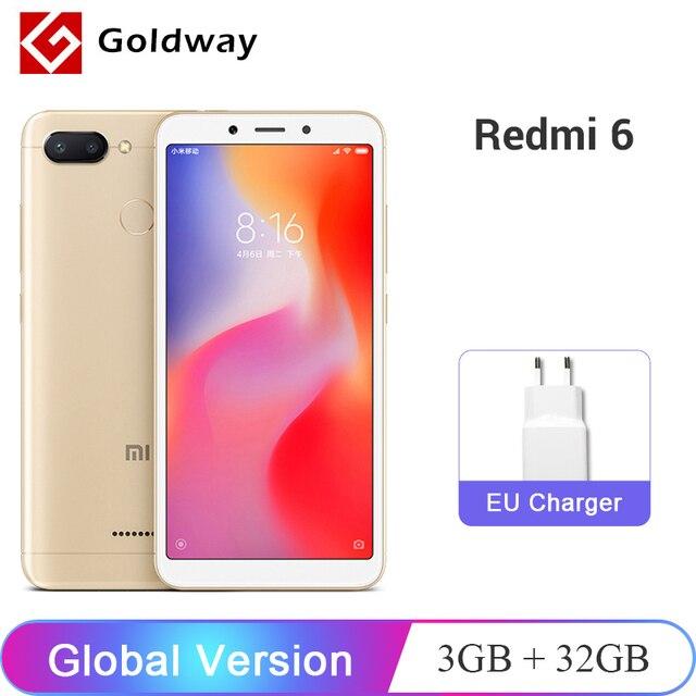 """Глобальная версия Xiaomi Redmi 6 3 GB Оперативная память 32 ГБ Встроенная память смартфона Helio P22 Восьмиядерный Процессор 12MP + 5MP две камеры 5,45 """"3000 mAh Батарея"""