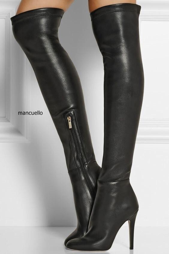 Women Chic Black Pu Leather Stiletto Heel Knee High Boots -1789