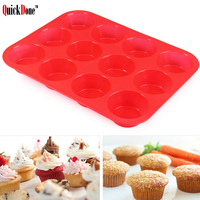 QuickDone 12 Lattices Silicone Cake Mold Fondant Cupcake Jelly Pudding Muffin Making Tools Forms For Kitchen