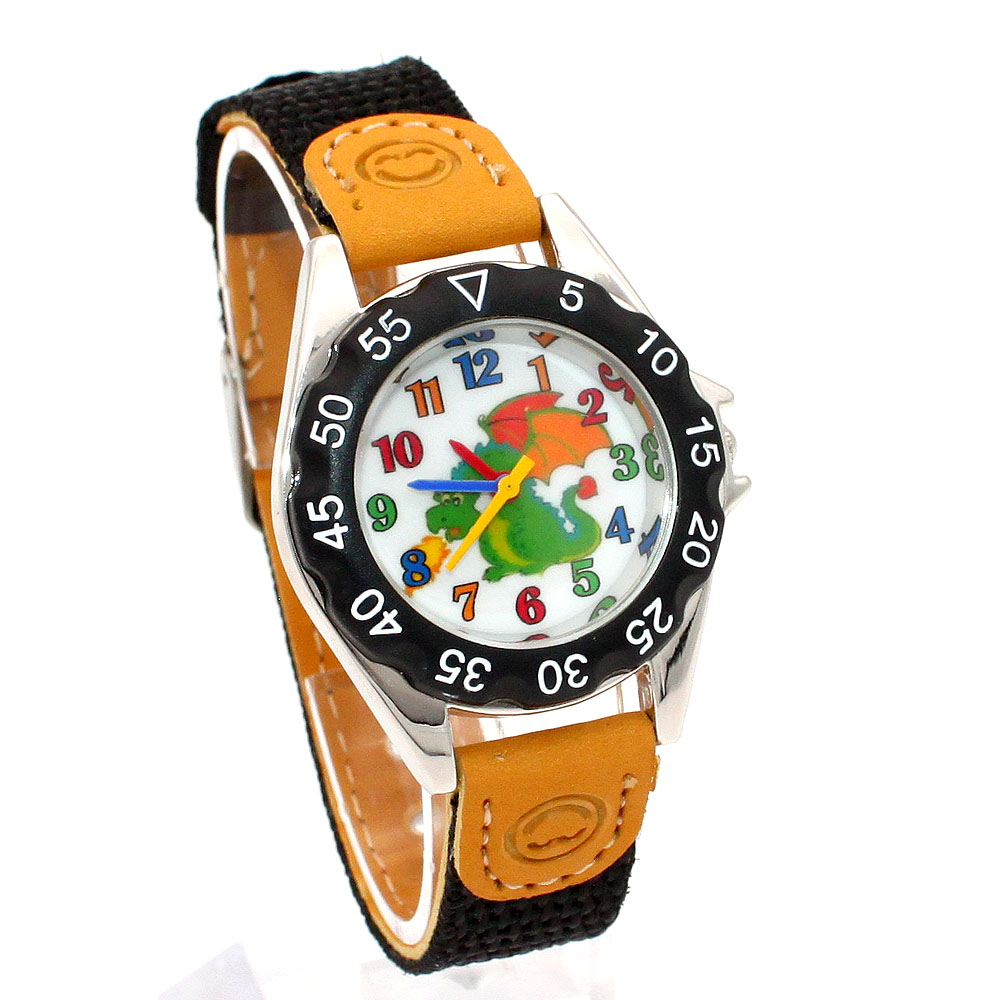 Children's Watches High Quality Kids Children's Gift Boy Girl Fabric Strap Learn Time Student Wristwatch U86A