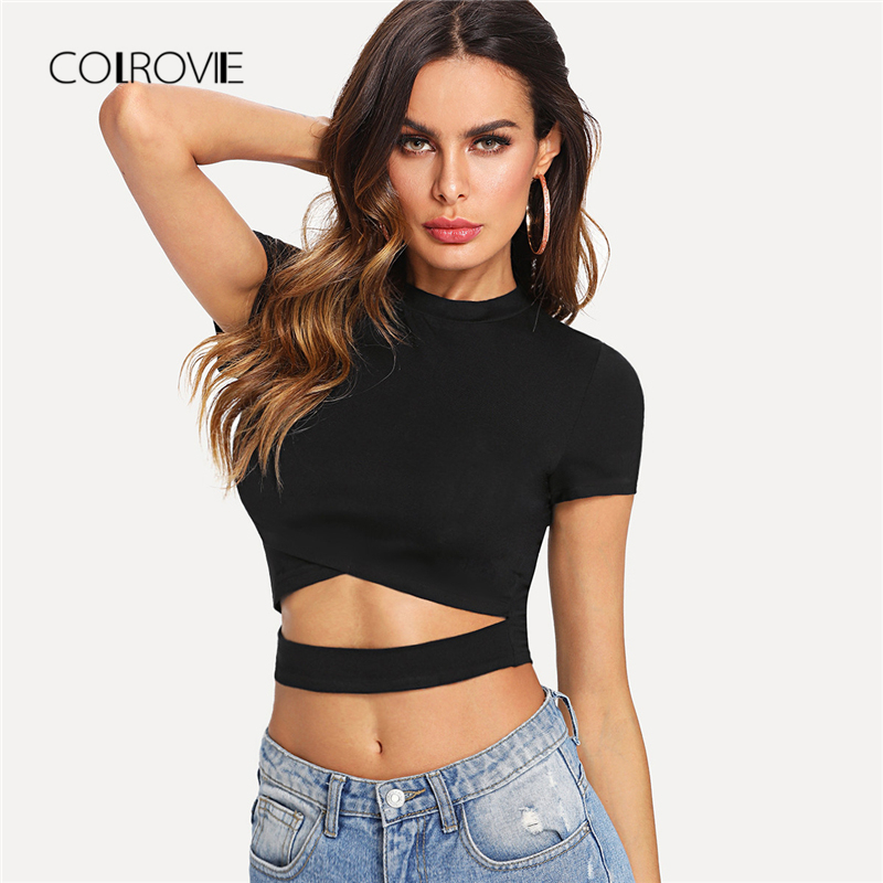 COLROVIE Cutout Waist Cross Wrap   Top   2018 New Summer Black Women   Tank     Top   Round Neck Cap Sleeve   Tops   Tee Wrap Cut Out Tee