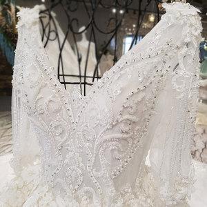 Image 4 - AIJINGYU Hochzeit Kleider China Shiny Weiß Neueste Stil Hochzeit Plus Größe Spitze Kappe Nova Kleid Brautkleid Online Verkauf
