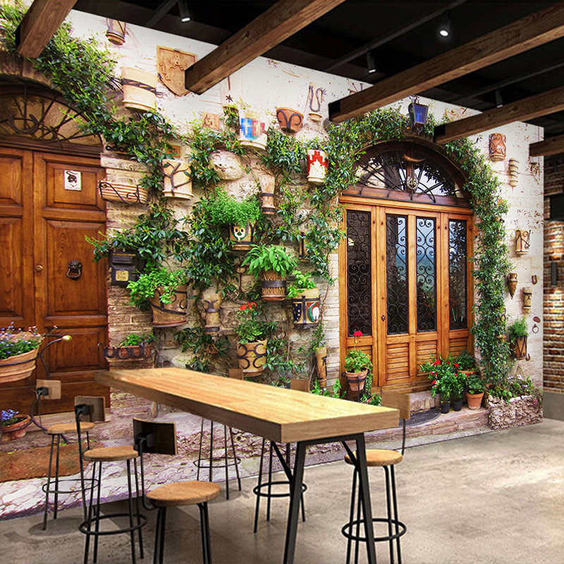 Custom 3D Photo Wallpaper European Retro Style Street View Photography Background Wall Painting Bar Cafe Restaurant Mural Decor
