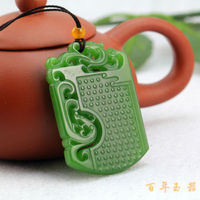 home decor 100% jade Chinese Green Natural Nephrite Hand-Carved Dragon pendant