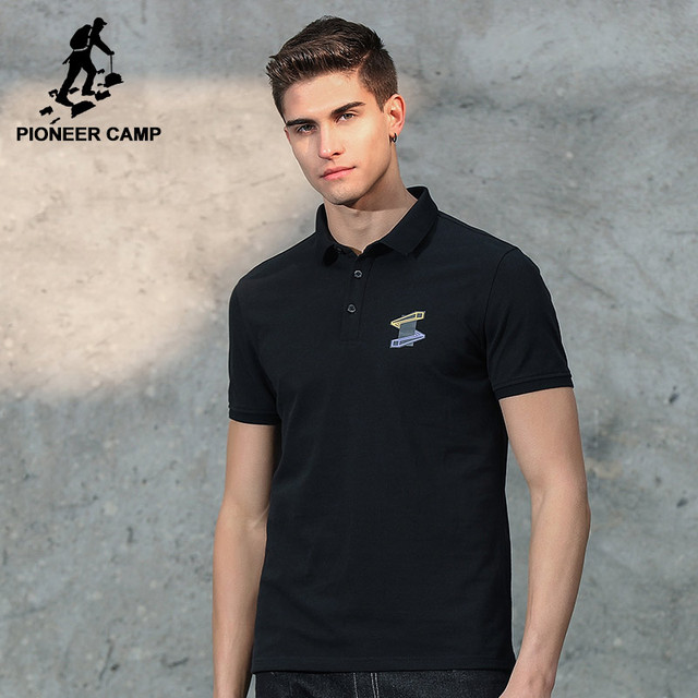 Pioneer Camp Men T Shirt New 2017 Cotton Simple Print: Pioneer Camp New Short Polo Shirt Men Brand Clothing