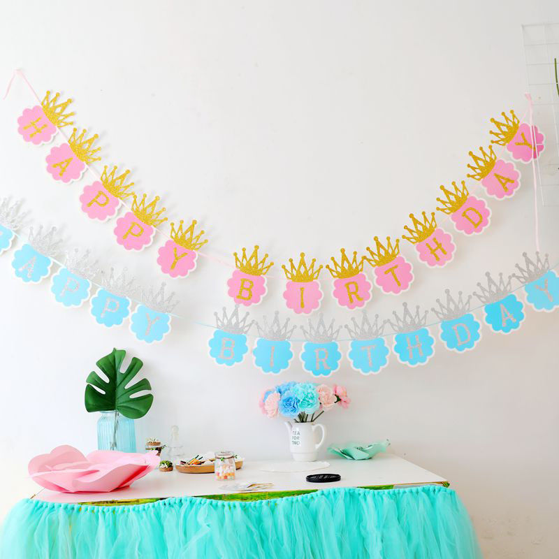 Glitter Paper Birthday Party Hanging Bunting Banner Flag: 1set Mordern Glitter Pastel Pink Happy Birthday Letters