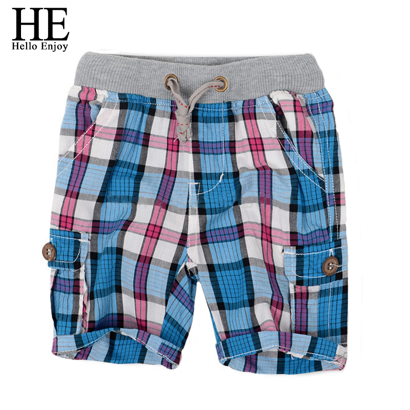HE Hello Enjoy boys shorts 2018 fashion plaid baby boys shorts summer children chothing  ...