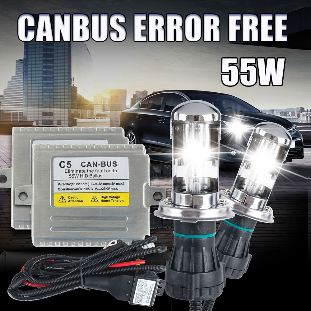 bi xenon H4 55W CANBUS Hid conversion Kit H4 bi xenon 4300k 6000k 8000k high/low beam headlamp