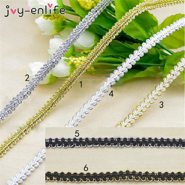 JOY-ENLIFE 5m/lot High Qulality Trim Sewing Lace Gold Silver Centipede Braided Lace Ribbon DIY Clothes Accessories Curve Lace