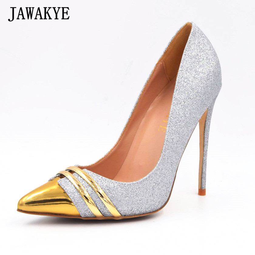 Spring bling bling shiny silver sequin golden high heel ladies pumps shallow mouth stilettos pointed toe shoes women plus size недорго, оригинальная цена
