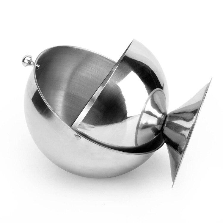 Stainless Steel Kitchen Spherical Sugar Bowl Seasoning Bottle Spice Tank Can Flip in Storage Bottles Jars from Home Garden