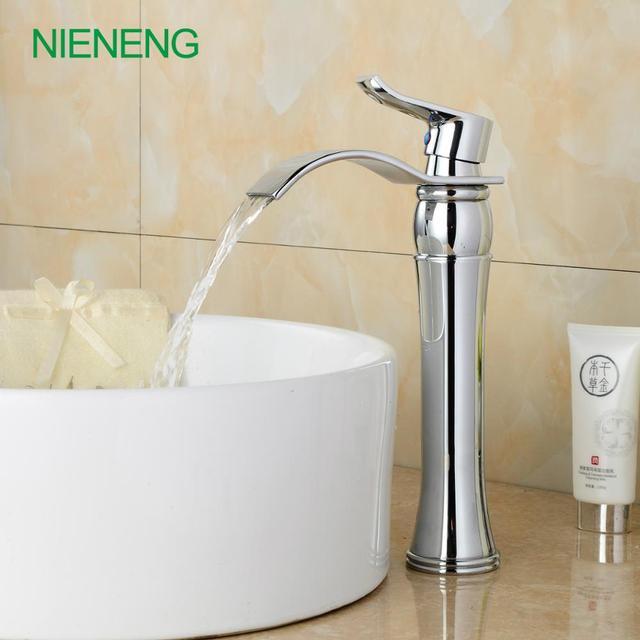 NIENENG Bathroom Faucets Wash Basin Tap WC Natural Bent Hot Water - Silver bathroom faucets