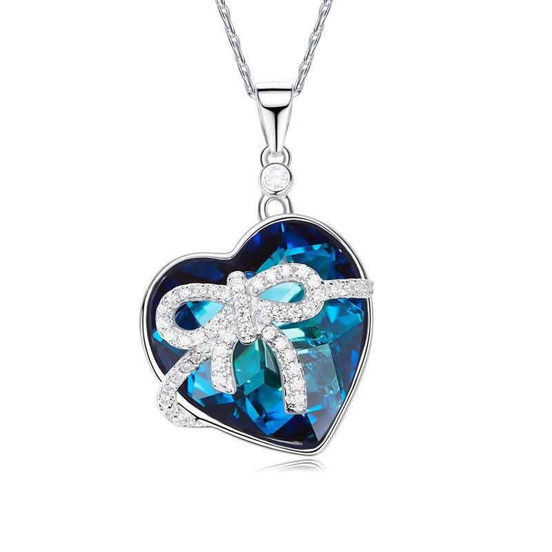 Couleur bleue de luxe grand noeud de cristal autrichien coeur amour Maxi Boho colliers pendentifs pour femmes bijoux de mode cadeau zk40
