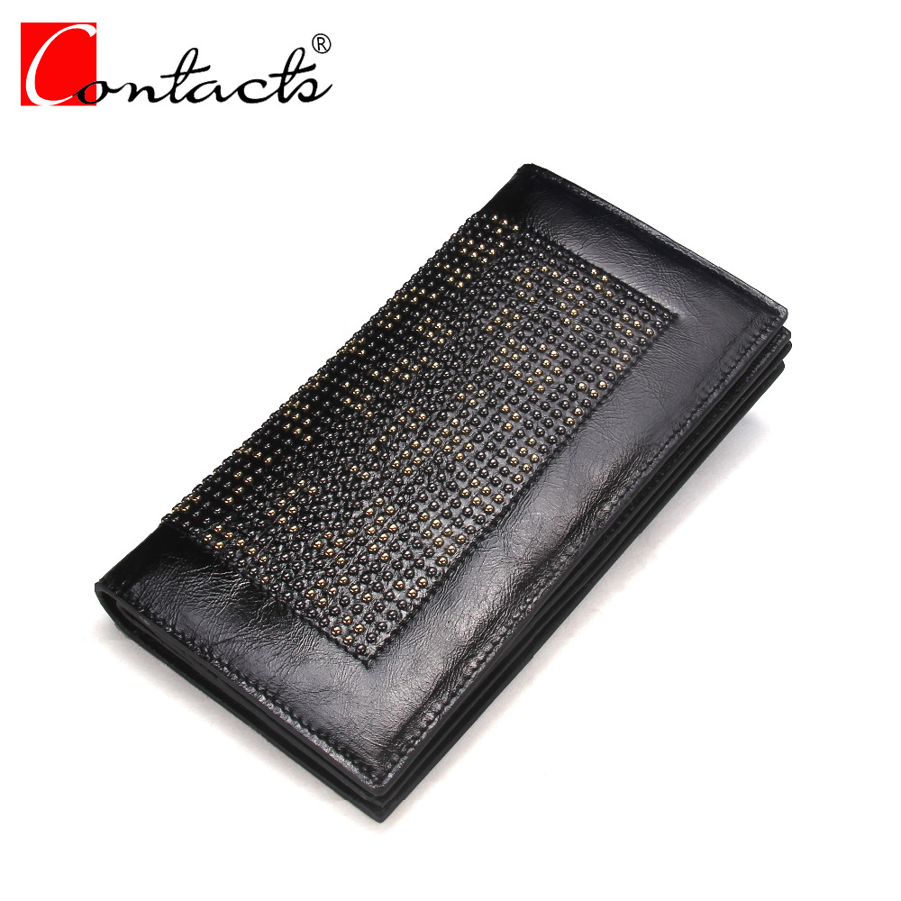 CONTACT'S Genuine Leather Women Wallets Women Dress wallet Fashion Long Clutch Wallet Card Holder Ladies Purse Cell Phone Pocket new fashion women leather wallet deer head hasp clutch card holder purse zero wallet bag ladies casual long design wallets