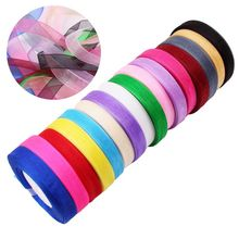 10 15mm 45 Meters Organza Ribbon Wedding Decoration Scrapbooking Gift Craft DIY Bow Kids Marriage Event Party Supplies