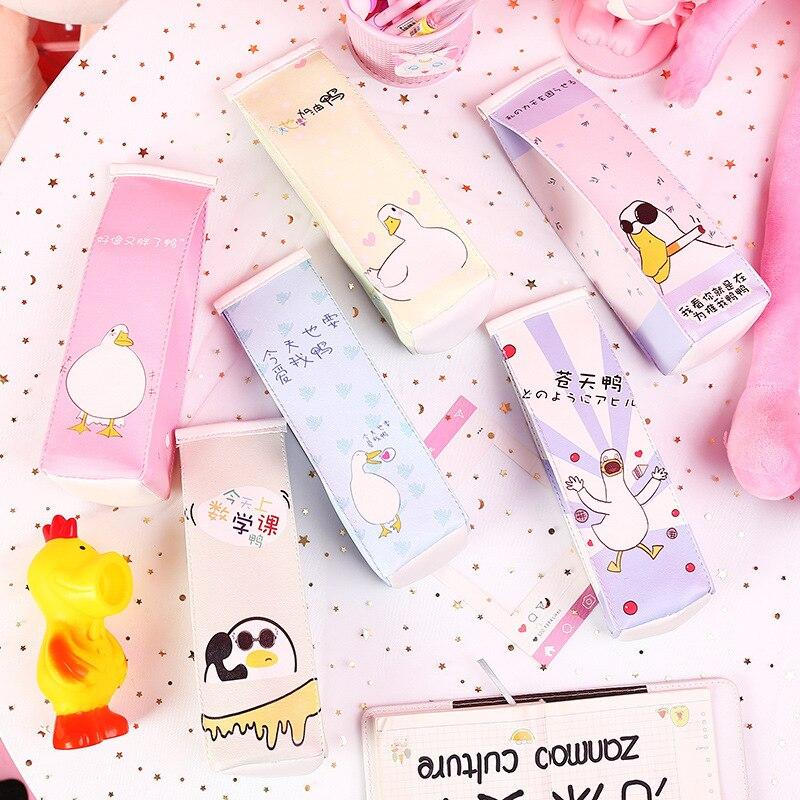 1 Pcs Kawaii Pu Pencil Case Duck Gift Estuches School Pencil Box Pencilcase Pencil Bag School Supplies Stationery