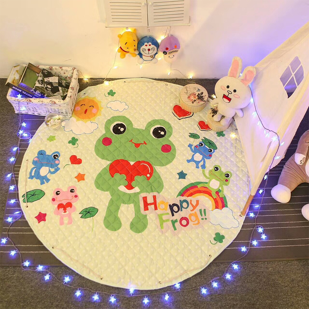 Kids Baby Play Mats Toys Storage Bag Cotton Round Carpet Rugs Portable Cartoon Toys Mat Pouch Blanket Living Room Cartoon
