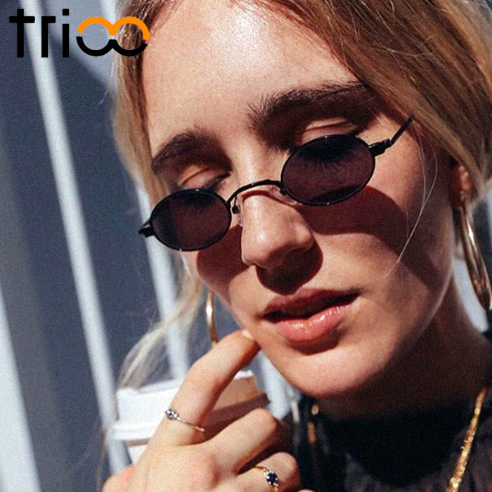 TRIOO 90s Retro Sunglasses Women Narrow Round Shades Fashion UV400 Lentes de sol mujer New Vitnage Design Sun Glasses