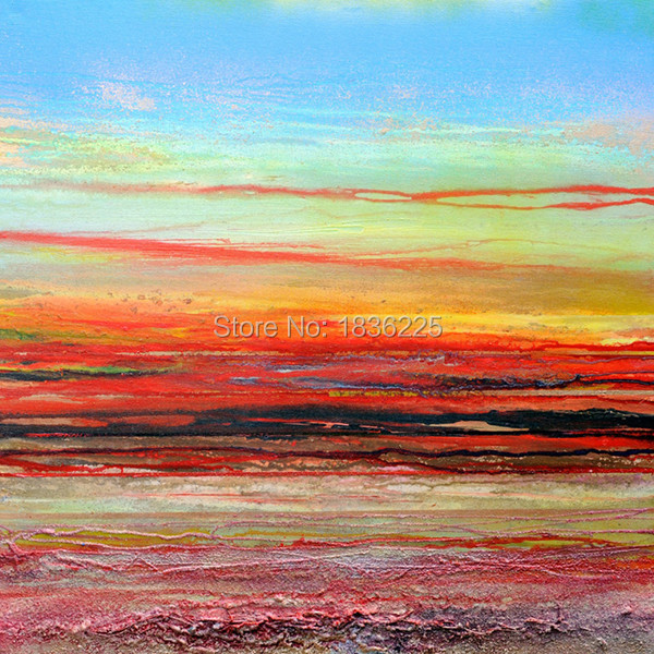Sea And Boat Oil Painting Abstract Seascape Sunset Landscape Paintings On Canvas For