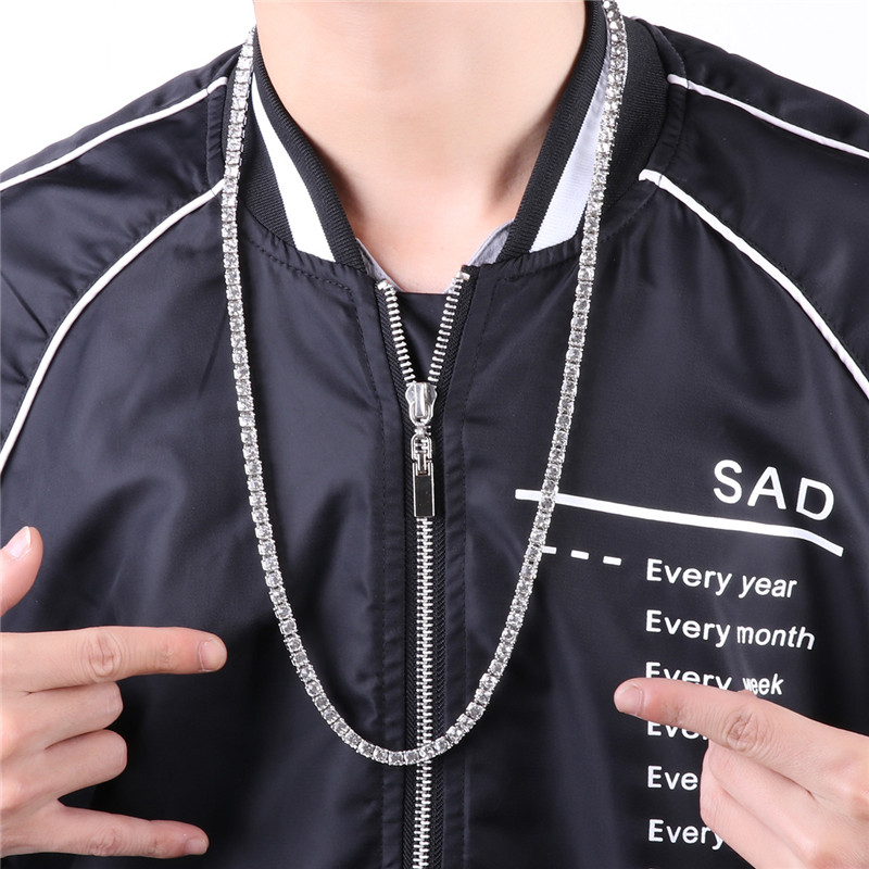 Hip Hop Necklace Rock chain gothic 20/24/30 Inch 1 Row 4MM Simulated Lab Iced Out Chain Hip Hop Style Tennis Necklace